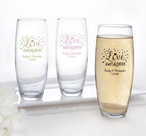 PERSONALIZED Wedding Mason Jars with Daisy Lids (Printed Glass) (50th Anniversary Elegant Scroll)