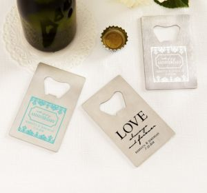 PERSONALIZED Wedding Credit Card Bottle Openers - Silver (Printed Metal) (White, Always & Forever Phrase)