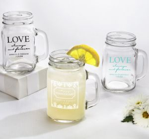 PERSONALIZED Wedding Mason Jar Mugs (Printed Glass) (Robin's Egg Blue, Always & Forever Damask)