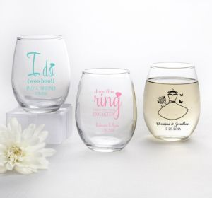 PERSONALIZED Wedding Stemless Wine Glasses 9oz (Printed Glass) (Pink, I Do Woo Hoo)
