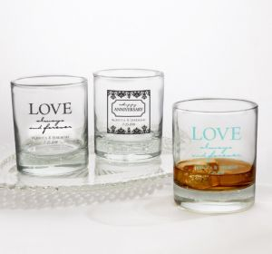 PERSONALIZED Wedding Rocks Glasses (Printed Glass) (Robin's Egg Blue, Always & Forever Phrase)