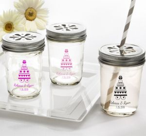 PERSONALIZED Wedding Mason Jars with Daisy Lids (Printed Glass) (Pink, Sweet Wedding Cake)