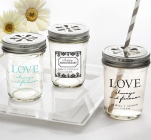 PERSONALIZED Wedding Mason Jars with Daisy Lids (Printed Glass) (Robin's Egg Blue, Always & Forever Love)