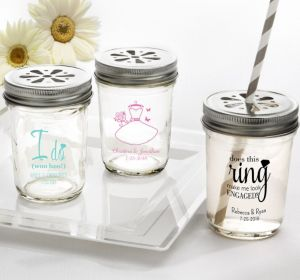 PERSONALIZED Wedding Mason Jars with Daisy Lids (Printed Glass) (Pink, Blushing Bride Dress)