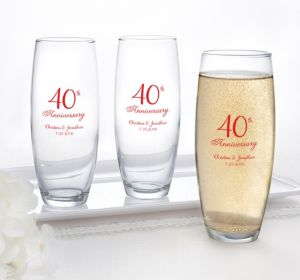 PERSONALIZED Wedding Stemless Champagne Flutes (Printed Glass) (40th Anniversary Elegant Scroll)