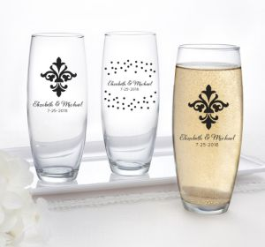 PERSONALIZED Wedding Stemless Champagne Flutes (Printed Glass) (Black, Damask & Dots Engagment)