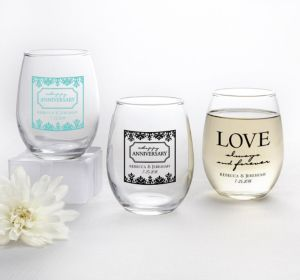 PERSONALIZED Wedding Stemless Wine Glasses 9oz (Printed Glass) (Robin's Egg Blue, Always & Forever Love)
