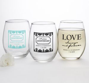 PERSONALIZED Wedding Stemless Wine Glasses 15oz (Printed Glass) (Robin's Egg Blue, Always & Forever Damask)