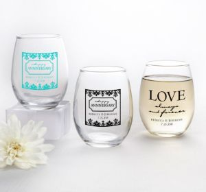 PERSONALIZED Wedding Stemless Wine Glasses 9oz (Printed Glass) (Robin's Egg Blue, Always & Forever Anniversary)