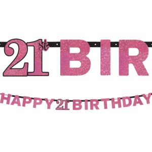 Prismatic 21st Birthday Banner - Pink Sparkling Celebration