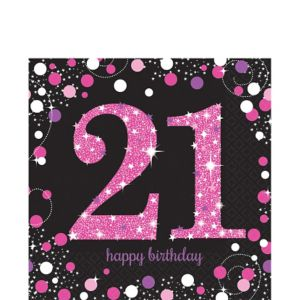 21st Birthday Lunch Napkins 16ct - Pink Sparkling Celebration