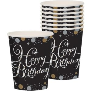 Happy Birthday Cups 8ct - Sparkling Celebration