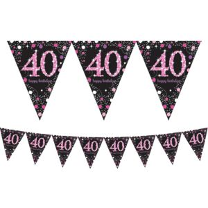 Prismatic 40th Birthday Pennant Banner - Pink Sparkling Celebration