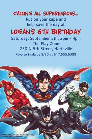 Custom Justice League Invitation