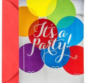 Metallic Rainbow Balloon Invitations 8ct