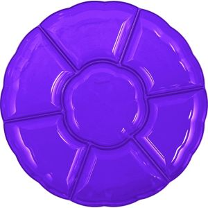 Purple Plastic Scalloped Sectional Platter