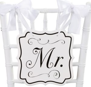 White Mr. Wedding Chair Sign