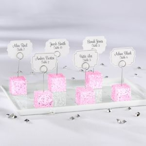 Pink Glitter Cube Place Card Holder