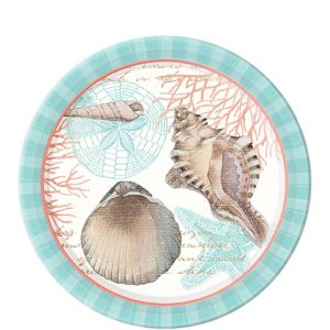 Eco-Friendly By the Sea Seashell Dessert Plates 8ct