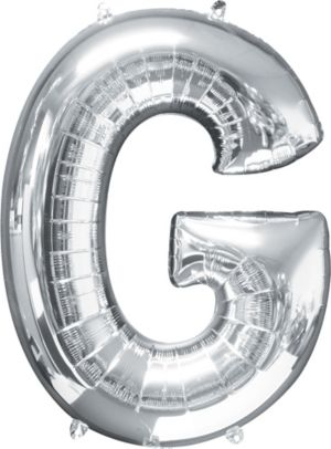 Giant Silver Letter G Balloon