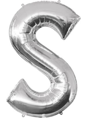 Giant Silver Letter S Balloon