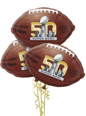 Super Bowl 50 Balloons 3ct - Football