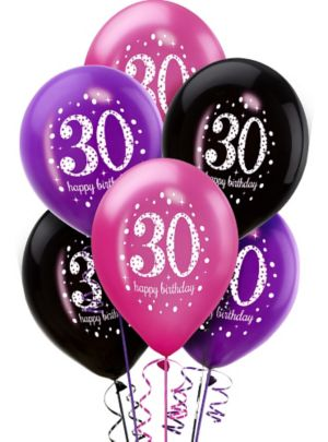 30th Birthday Balloons 6ct - Pink Sparkling Celebration