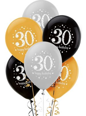 30th Birthday Balloons 6ct - Sparkling Celebration