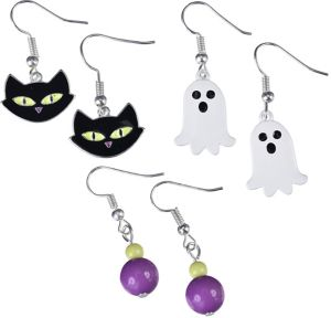 Black Cat & Ghost Halloween Earrings Set 6pc