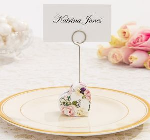 English Garden Floral Heart Place Card Holder