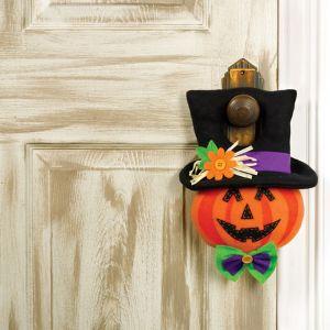 Plush Friendly Jack-o'-Lantern Door Hanger