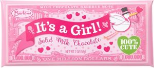 Pink It's a Girl Million Dollar Milk Chocolate Bar