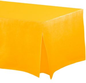Sunshine Yellow Flannel-Backed Vinyl Fitted Table Cover