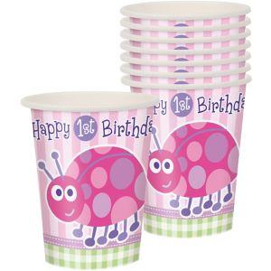 Pink Ladybug 1st Birthday Cups 8ct