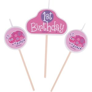 Pink Ladybug 1st Birthday Toothpick Candle Set 3pc