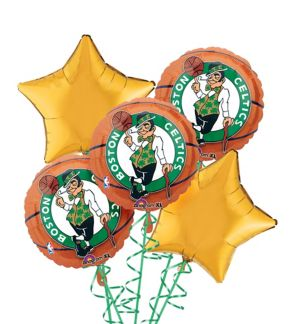 Boston Celtics Balloon Bouquet 5pc - Basketball