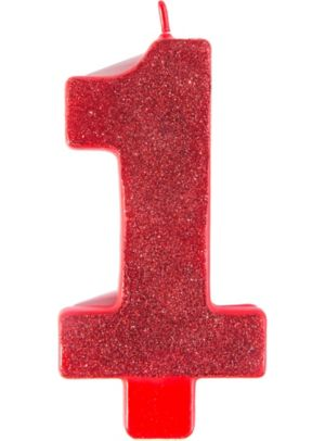 Glitter Red Number 1 Birthday Candle