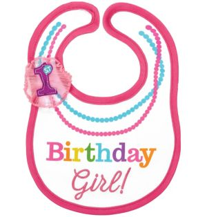 Pink 1st Birthday Bib