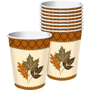 Copper Leaves Cups 8ct