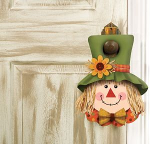 Plush Friendly Scarecrow Door Hanger