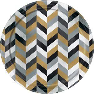 Metallic Black, Gold & Silver Herringbone Dinner Plates 8ct