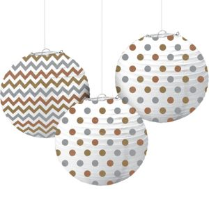 Metallic Polka Dot & Chevron Paper Lanterns 3ct