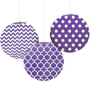 Purple Patterned Paper Lanterns 3ct