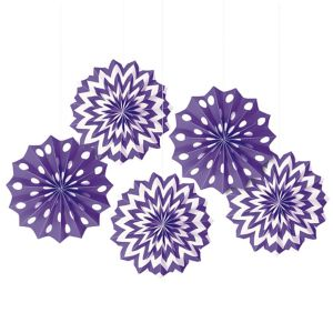 Purple Polka Dot & Chevron Mini Paper Fan Decorations 5ct