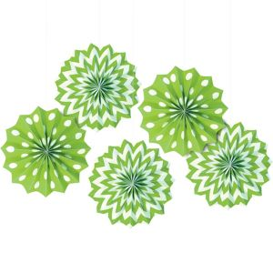 Kiwi Green Polka Dot & Chevron Mini Paper Fan Decorations 5ct