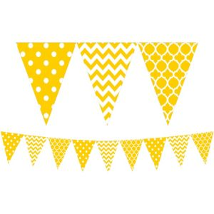 Sunshine Yellow Patterned Pennant Banner