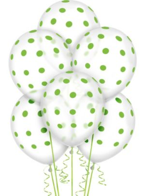 Transparent & Kiwi Green Polka Dot Balloons 20ct