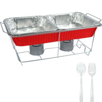 Red Chafing Dish Buffet Set 8pc