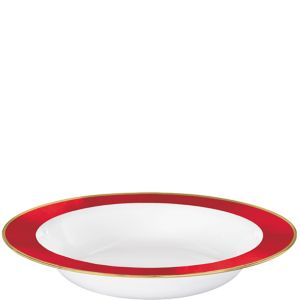Gold & Red Border Premium Plastic Bowls 10ct