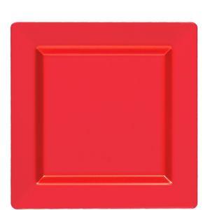 Red Premium Plastic Square Lunch Plates 10ct